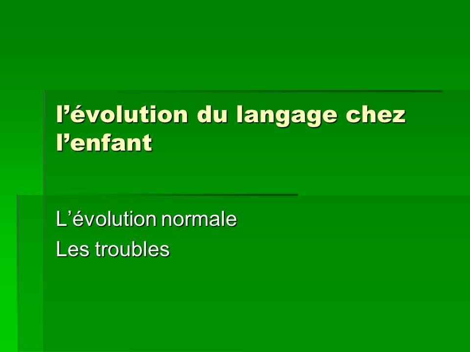 lévolution du langage chez lenfant Lévolution normale Les troubles