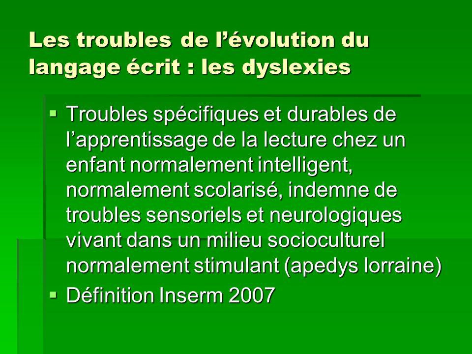 Les troubles de lévolution du langage écrit : les dyslexies Troubles spécifiques et durables de lapprentissage de la lecture chez un enfant normalemen