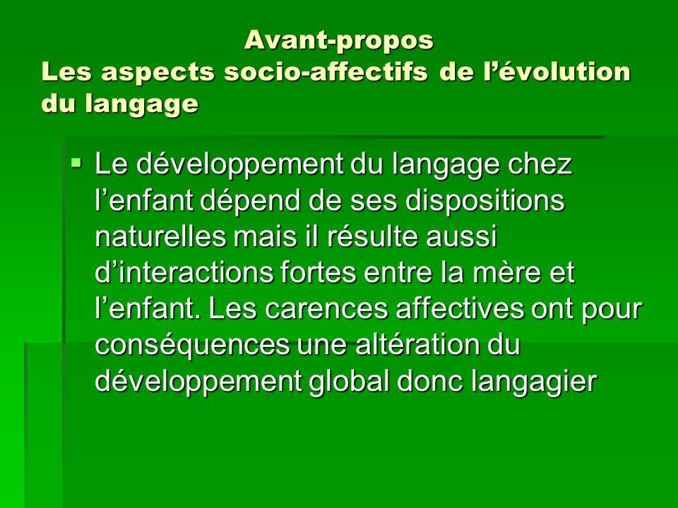 Avant-propos Les aspects socio-affectifs de lévolution du langage Le développement du langage chez lenfant dépend de ses dispositions naturelles mais