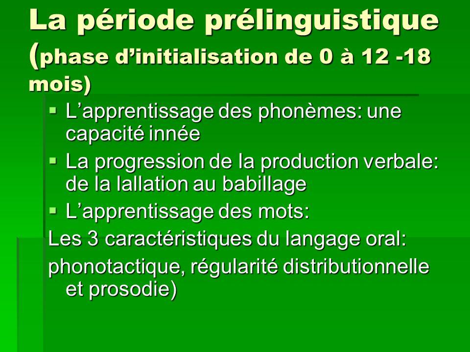 La période prélinguistique ( phase dinitialisation de 0 à 12 -18 mois) Lapprentissage des phonèmes: une capacité innée Lapprentissage des phonèmes: un