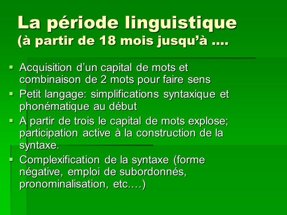 La période linguistique (à partir de 18 mois jusquà …. Acquisition dun capital de mots et combinaison de 2 mots pour faire sens Acquisition dun capita
