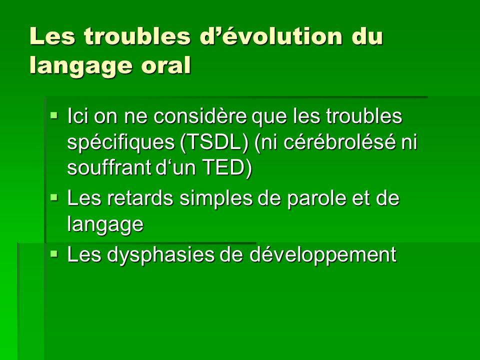 Les troubles dévolution du langage oral Ici on ne considère que les troubles spécifiques (TSDL) (ni cérébrolésé ni souffrant dun TED) Ici on ne consid