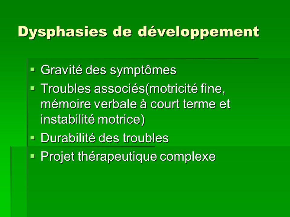 Dysphasies de développement Gravité des symptômes Gravité des symptômes Troubles associés(motricité fine, mémoire verbale à court terme et instabilité