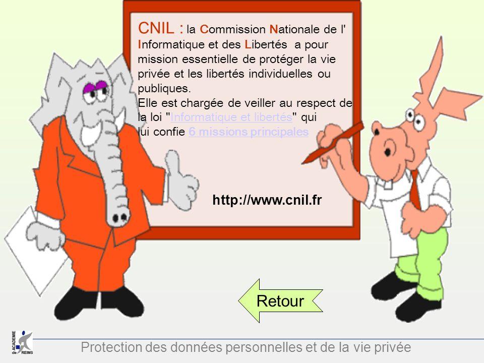 Protection des données personnelles et de la vie privée CNIL : la Commission Nationale de l' Informatique et des Libertés a pour mission essentielle d