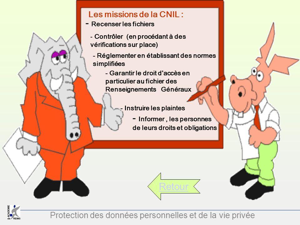 Protection des données personnelles et de la vie privée Retour Les missions de la CNIL : - Recenser les fichiers - Contrôler (en procédant à des vérif