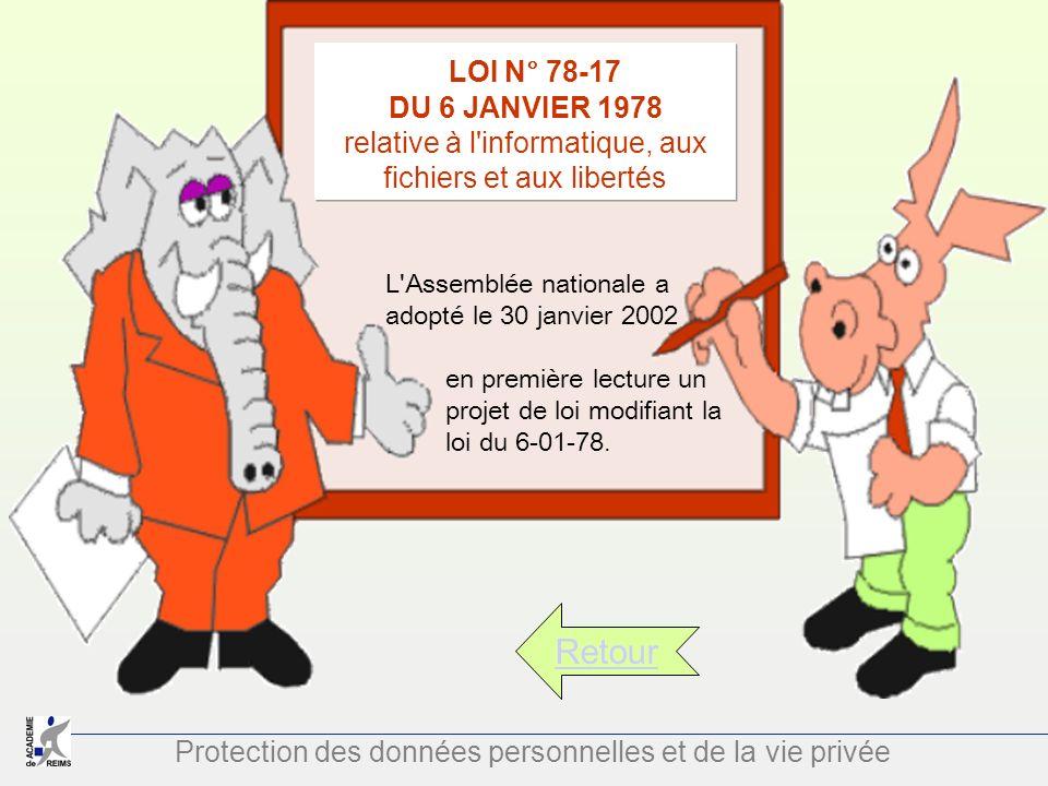 Protection des données personnelles et de la vie privée Retour LOI N° 78-17 DU 6 JANVIER 1978 relative à l'informatique, aux fichiers et aux libertés