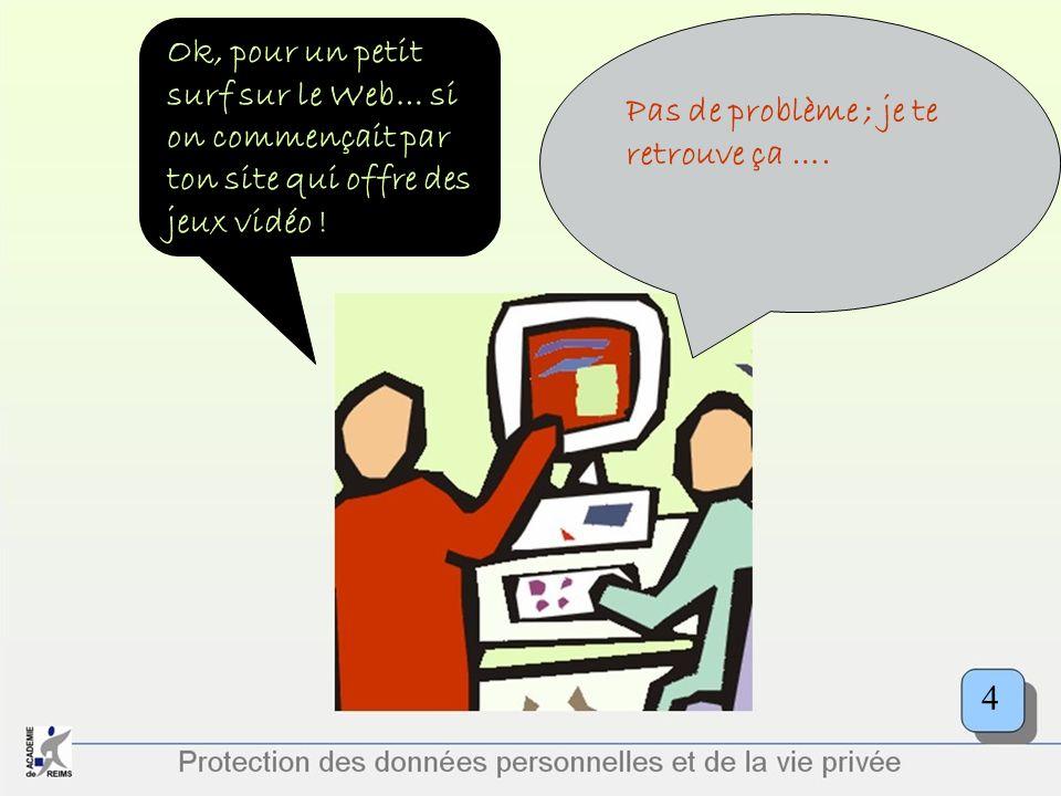 Protection des données personnelles et de la vie privée Ok, pour un petit surf sur le Web… si on commençait par ton site qui offre des jeux vidéo ! Pa