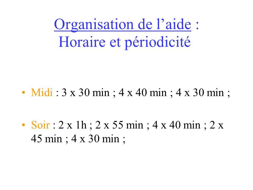Organisation de laide : Horaire et périodicité Midi : 3 x 30 min ; 4 x 40 min ; 4 x 30 min ; Soir : 2 x 1h ; 2 x 55 min ; 4 x 40 min ; 2 x 45 min ; 4 x 30 min ;
