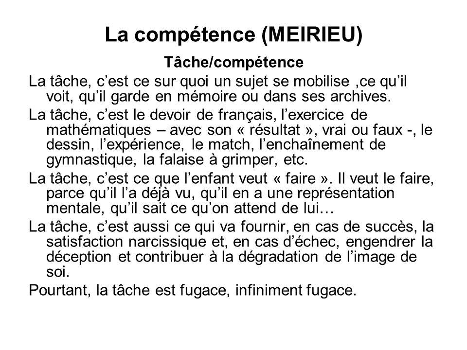 La compétence (MEIRIEU) Tâche/compétence La tâche, cest ce sur quoi un sujet se mobilise,ce quil voit, quil garde en mémoire ou dans ses archives. La