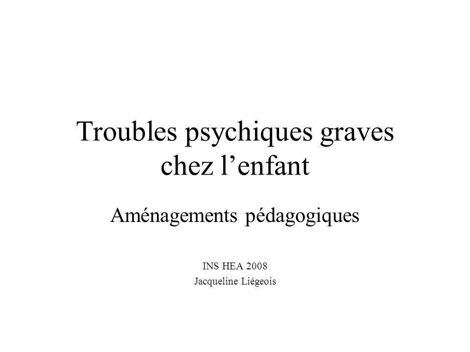 Troubles psychiques graves chez lenfant Aménagements pédagogiques INS HEA 2008 Jacqueline Liégeois