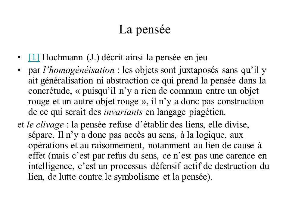 La pensée [1] Hochmann (J.) décrit ainsi la pensée en jeu[1] par lhomogénéisation : les objets sont juxtaposés sans quil y ait généralisation ni abstr