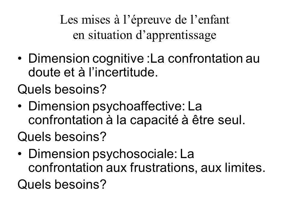 Les mises à lépreuve de lenfant en situation dapprentissage Dimension cognitive :La confrontation au doute et à lincertitude. Quels besoins? Dimension
