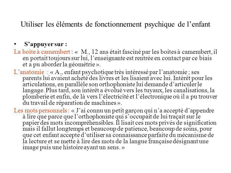 Utiliser les éléments de fonctionnement psychique de lenfant Sappuyer sur : La boîte à camembert : « M., 12 ans était fasciné par les boîtes à camembe