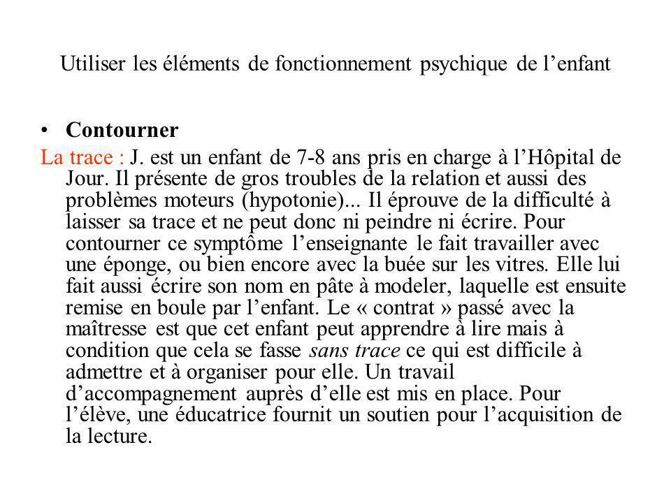 Utiliser les éléments de fonctionnement psychique de lenfant Contourner La trace : J. est un enfant de 7-8 ans pris en charge à lHôpital de Jour. Il p