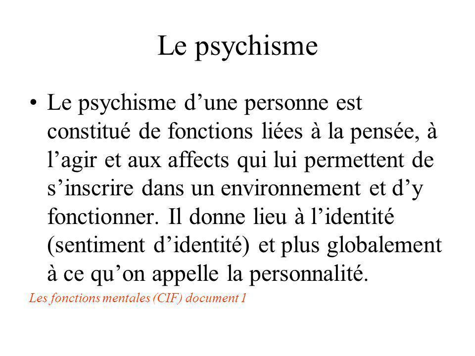 Le psychisme Le psychisme dune personne est constitué de fonctions liées à la pensée, à lagir et aux affects qui lui permettent de sinscrire dans un e