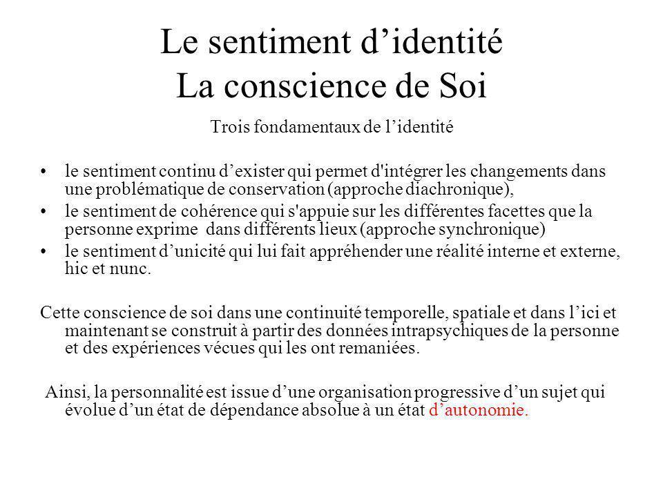 Le sentiment didentité La conscience de Soi Trois fondamentaux de lidentité le sentiment continu dexister qui permet d'intégrer les changements dans u