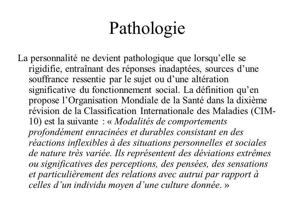 Pathologie La personnalité ne devient pathologique que lorsquelle se rigidifie, entraînant des réponses inadaptées, sources dune souffrance ressentie