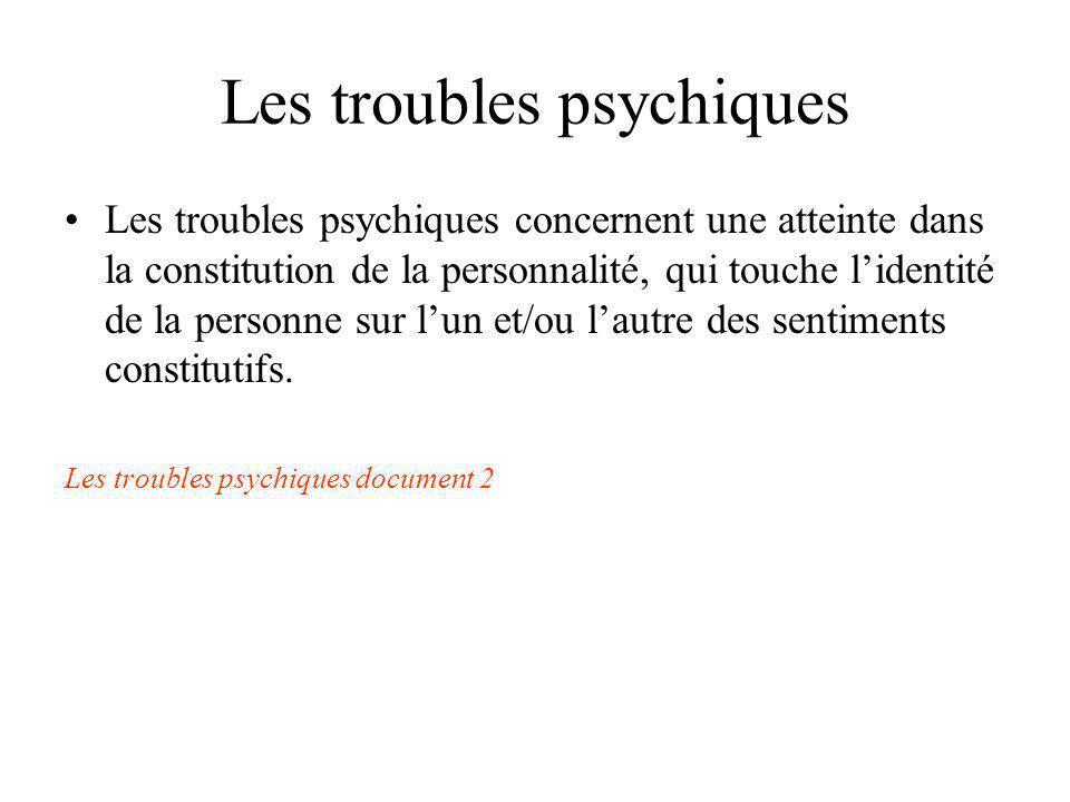Les troubles psychiques Les troubles psychiques concernent une atteinte dans la constitution de la personnalité, qui touche lidentité de la personne s