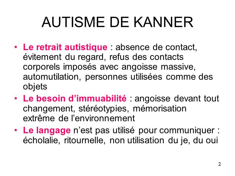 2 AUTISME DE KANNER Le retrait autistique : absence de contact, évitement du regard, refus des contacts corporels imposés avec angoisse massive, autom
