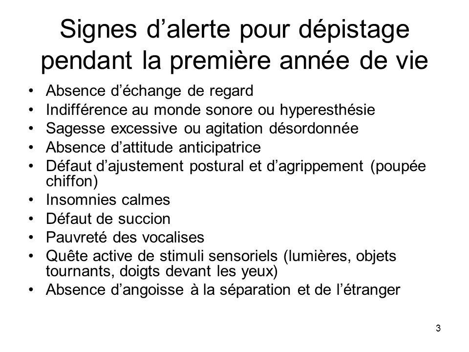 3 Signes dalerte pour dépistage pendant la première année de vie Absence déchange de regard Indifférence au monde sonore ou hyperesthésie Sagesse exce