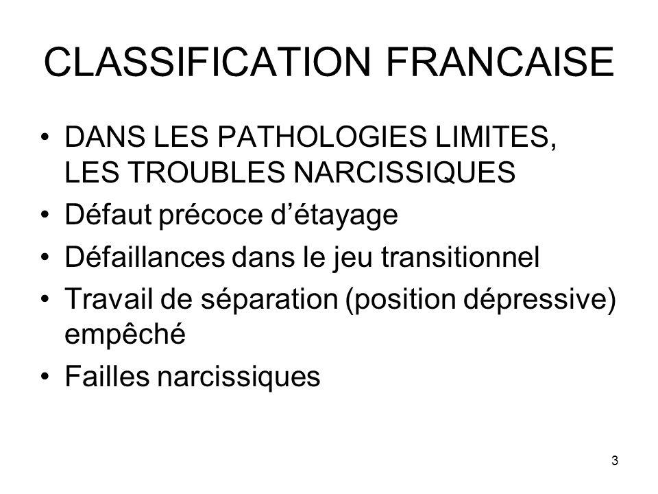 3 CLASSIFICATION FRANCAISE DANS LES PATHOLOGIES LIMITES, LES TROUBLES NARCISSIQUES Défaut précoce détayage Défaillances dans le jeu transitionnel Trav