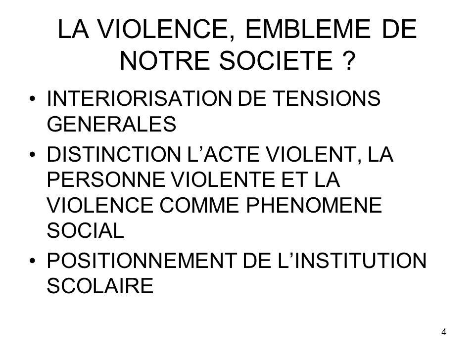 4 LA VIOLENCE, EMBLEME DE NOTRE SOCIETE ? INTERIORISATION DE TENSIONS GENERALES DISTINCTION LACTE VIOLENT, LA PERSONNE VIOLENTE ET LA VIOLENCE COMME P