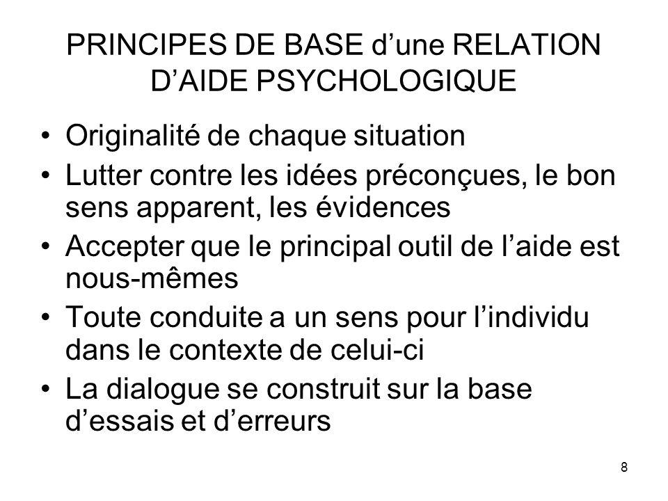8 PRINCIPES DE BASE dune RELATION DAIDE PSYCHOLOGIQUE Originalité de chaque situation Lutter contre les idées préconçues, le bon sens apparent, les év
