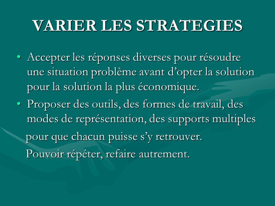 VARIER LES STRATEGIES Accepter les réponses diverses pour résoudre une situation problème avant dopter la solution pour la solution la plus économique