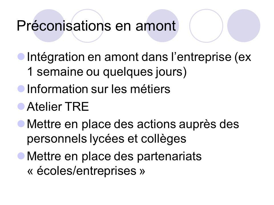 Préconisations en amont Intégration en amont dans lentreprise (ex 1 semaine ou quelques jours) Information sur les métiers Atelier TRE Mettre en place