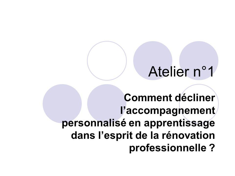 Atelier n°1 Comment décliner laccompagnement personnalisé en apprentissage dans lesprit de la rénovation professionnelle