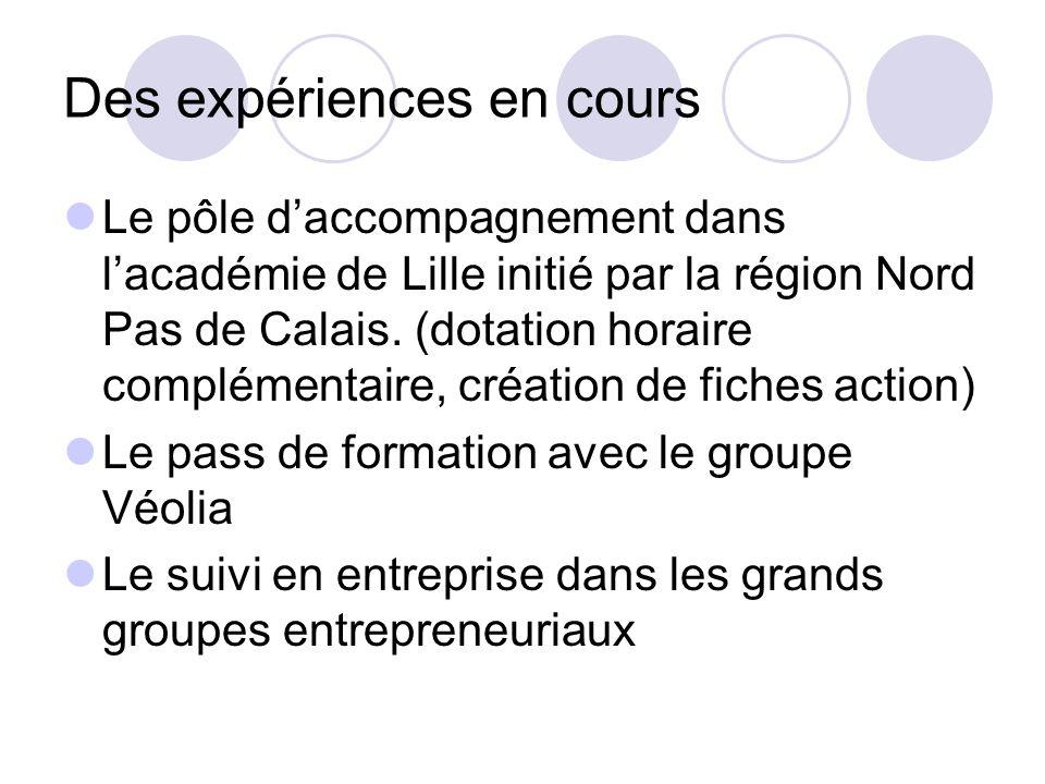 Des expériences en cours Le pôle daccompagnement dans lacadémie de Lille initié par la région Nord Pas de Calais.