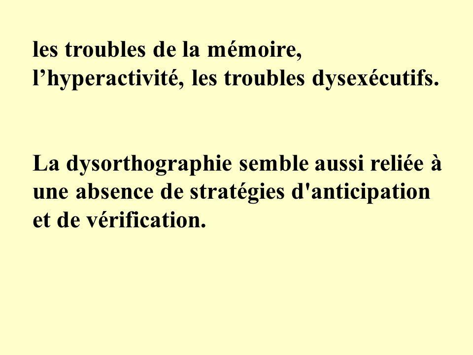 les troubles de la mémoire, lhyperactivité, les troubles dysexécutifs. La dysorthographie semble aussi reliée à une absence de stratégies d'anticipati