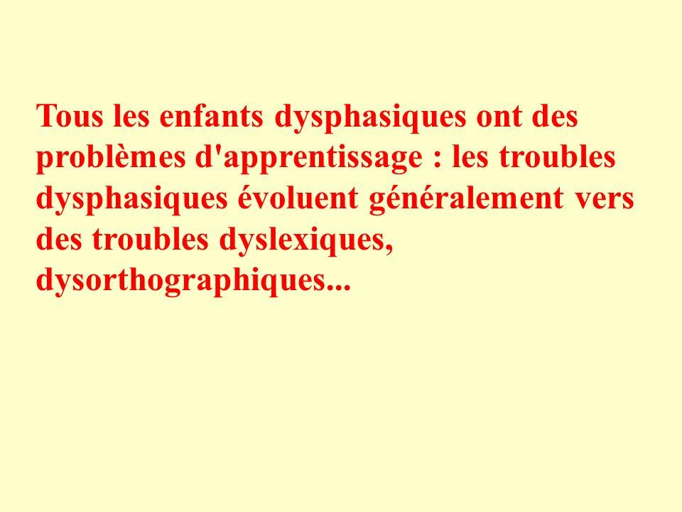 Tous les enfants dysphasiques ont des problèmes d'apprentissage : les troubles dysphasiques évoluent généralement vers des troubles dyslexiques, dysor