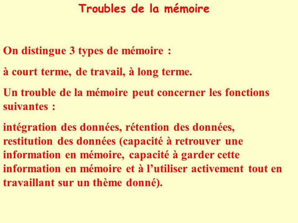 Troubles de la mémoire On distingue 3 types de mémoire : à court terme, de travail, à long terme. Un trouble de la mémoire peut concerner les fonction