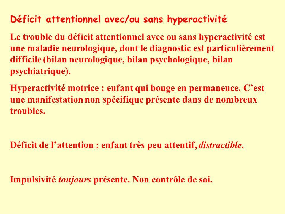 Déficit attentionnel avec/ou sans hyperactivité Le trouble du déficit attentionnel avec ou sans hyperactivité est une maladie neurologique, dont le diagnostic est particulièrement difficile (bilan neurologique, bilan psychologique, bilan psychiatrique).