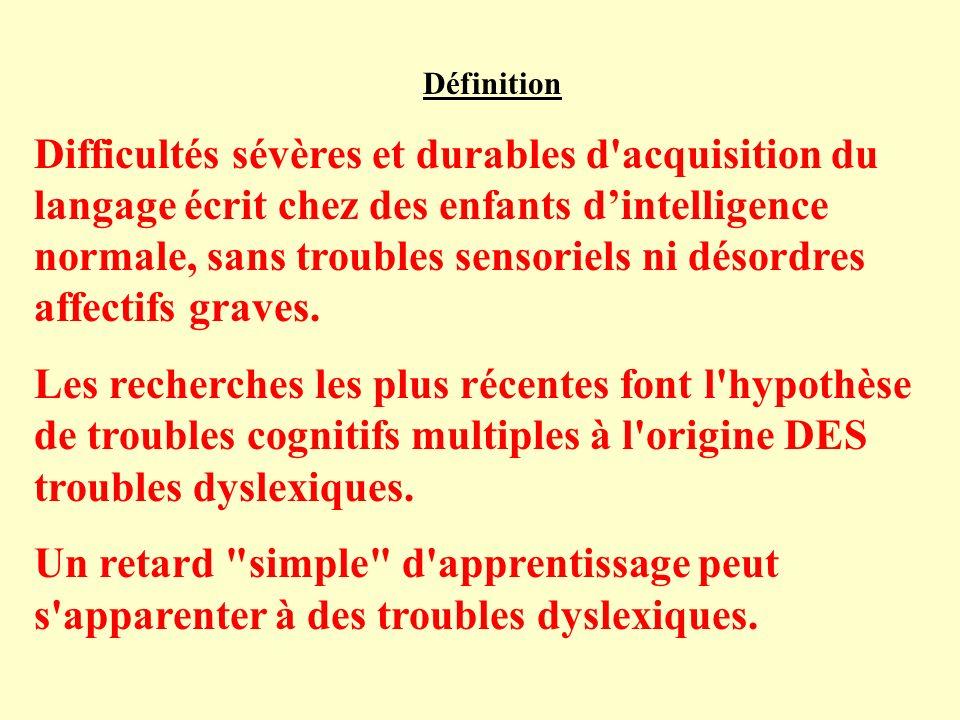 Définition Difficultés sévères et durables d acquisition du langage écrit chez des enfants dintelligence normale, sans troubles sensoriels ni désordres affectifs graves.