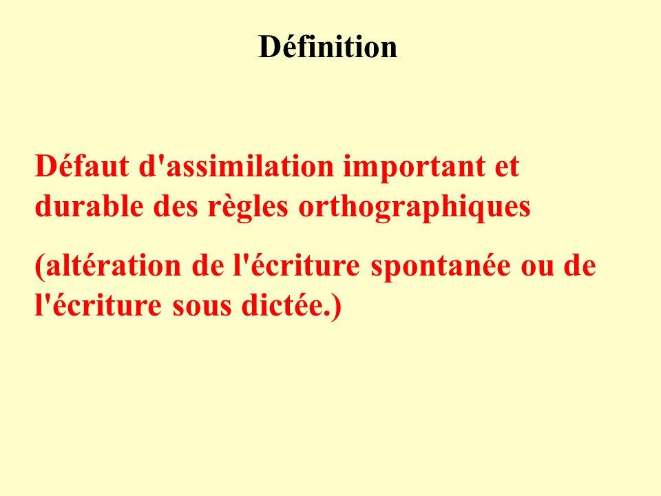 Définition Défaut d'assimilation important et durable des règles orthographiques (altération de l'écriture spontanée ou de l'écriture sous dictée.)