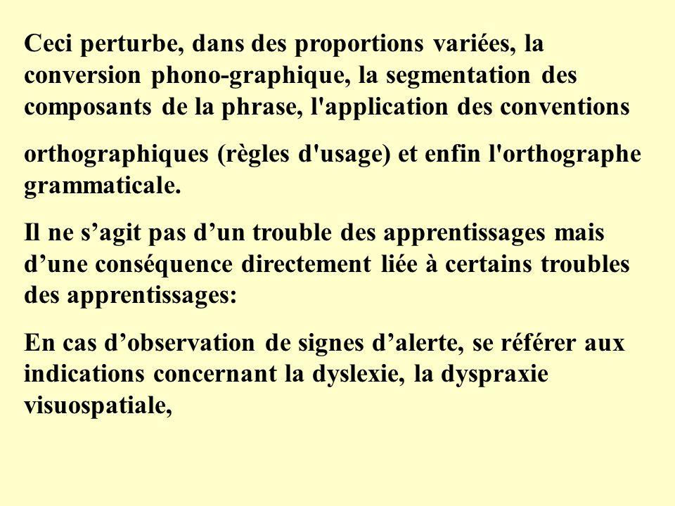 Ceci perturbe, dans des proportions variées, la conversion phono-graphique, la segmentation des composants de la phrase, l'application des conventions