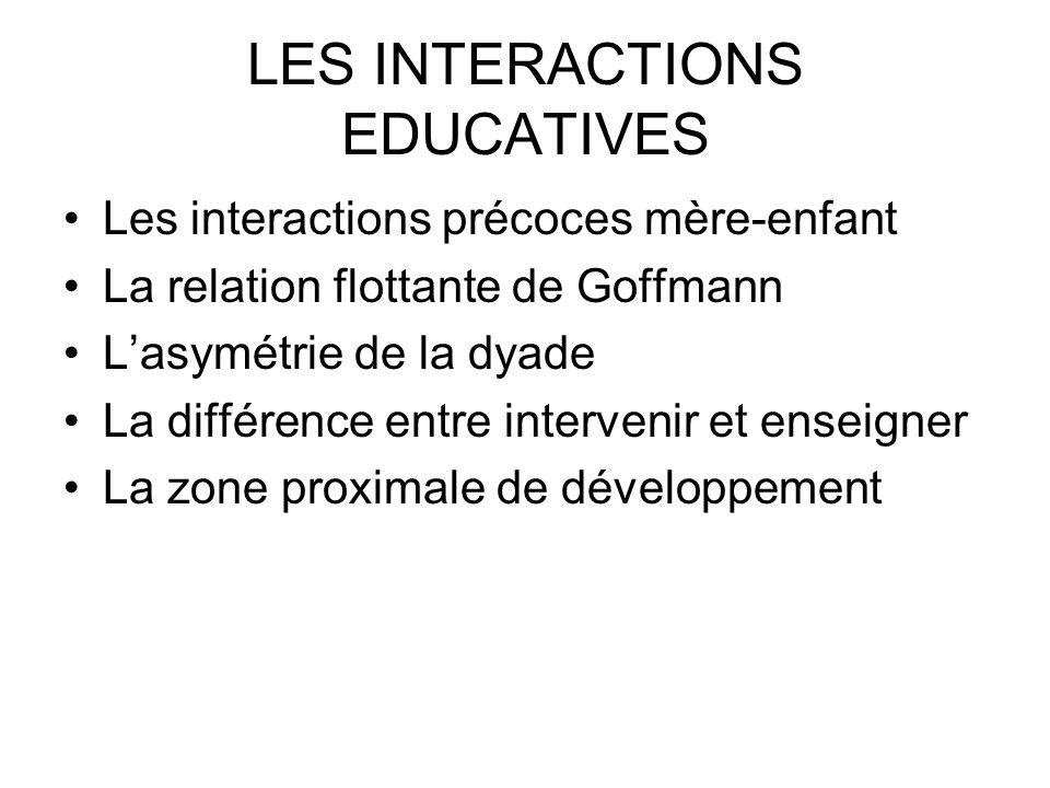 LES INTERACTIONS EDUCATIVES Les interactions précoces mère-enfant La relation flottante de Goffmann Lasymétrie de la dyade La différence entre interve