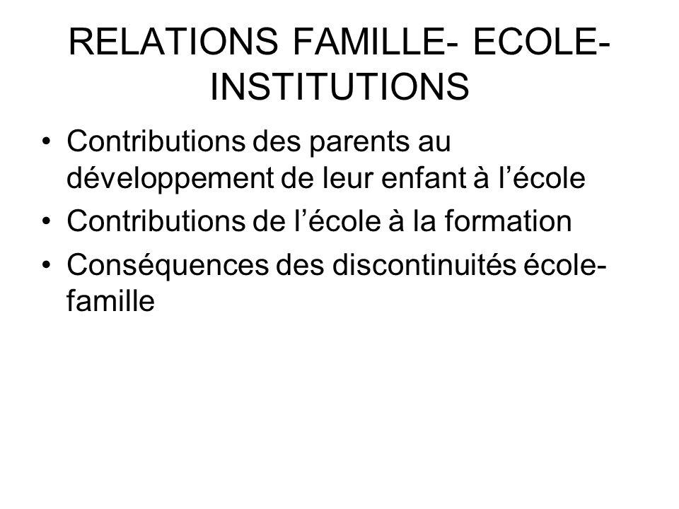 RELATIONS FAMILLE- ECOLE- INSTITUTIONS Contributions des parents au développement de leur enfant à lécole Contributions de lécole à la formation Consé