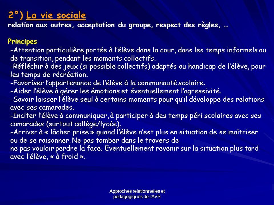 Approches relationnelles et pédagogiques de l'AVS 2°) La vie sociale relation aux autres, acceptation du groupe, respect des règles, … Principes -Atte