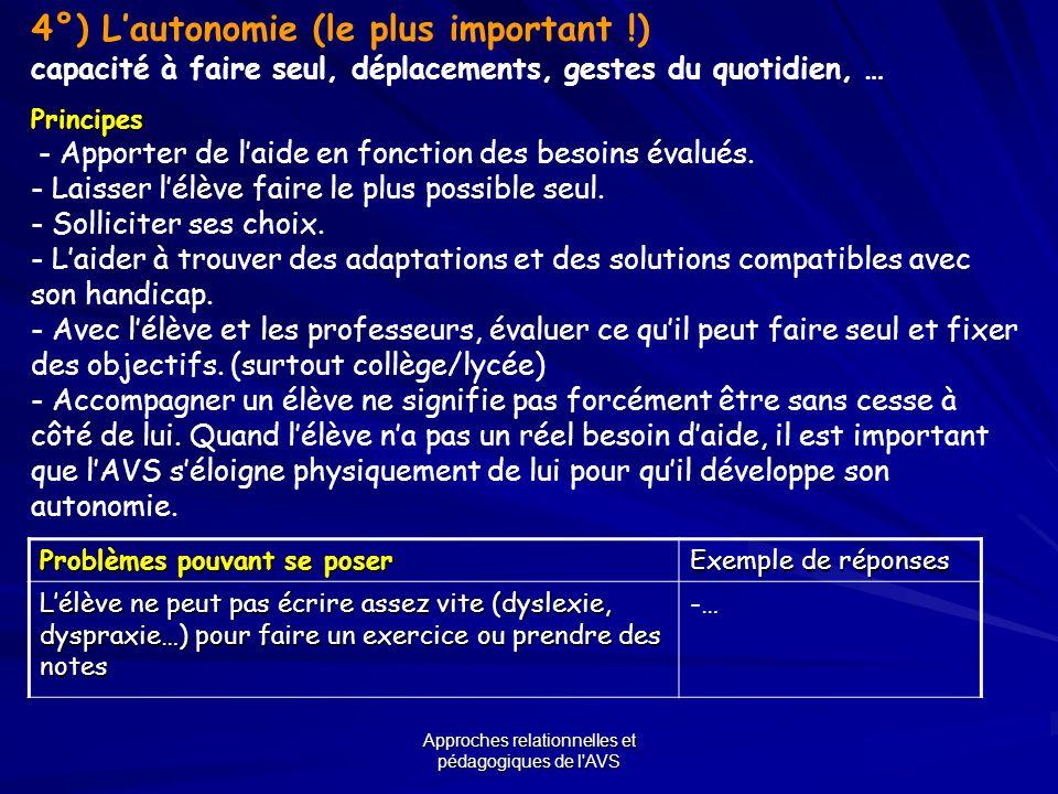 Approches relationnelles et pédagogiques de l'AVS 4°) Lautonomie (le plus important !) capacité à faire seul, déplacements, gestes du quotidien, …Prin