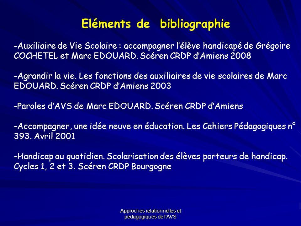 Approches relationnelles et pédagogiques de l'AVS Eléments de bibliographie -Auxiliaire de Vie Scolaire : accompagner lélève handicapé de Grégoire COC