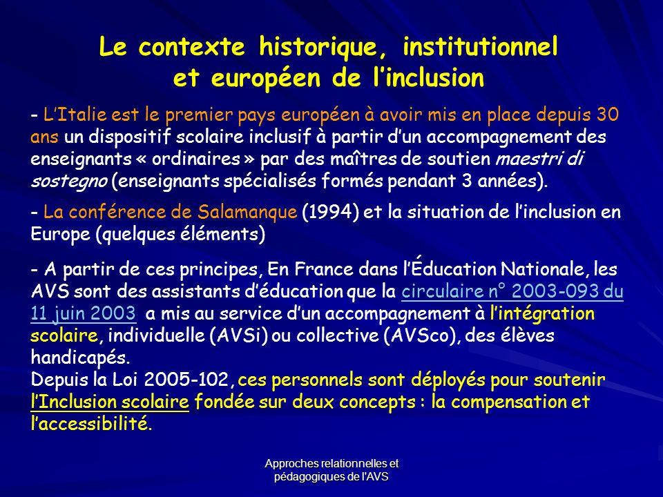 Approches relationnelles et pédagogiques de l'AVS Le contexte historique, institutionnel et européen de linclusion - LItalie est le premier pays europ