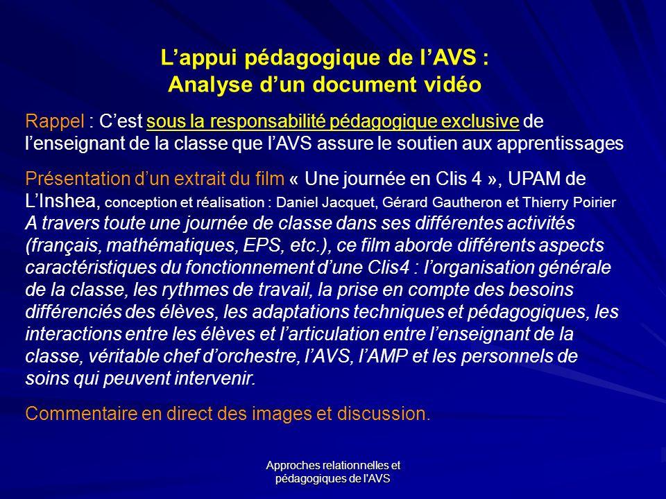 Approches relationnelles et pédagogiques de l'AVS Lappui pédagogique de lAVS : Analyse dun document vidéo Rappel : Cest sous la responsabilité pédagog