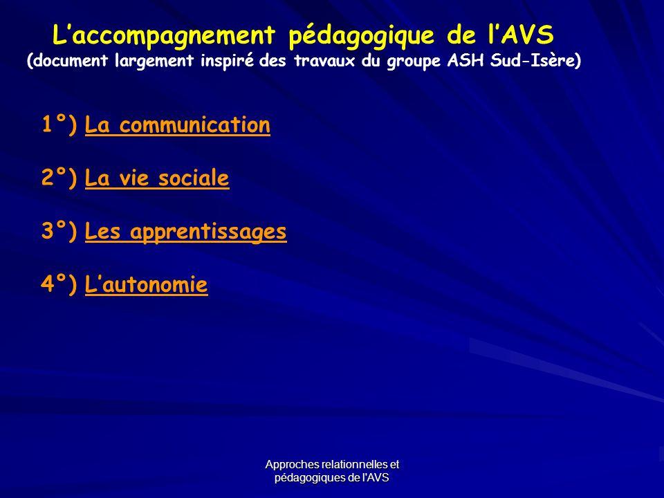 Approches relationnelles et pédagogiques de l'AVS Laccompagnement pédagogique de lAVS (document largement inspiré des travaux du groupe ASH Sud-Isère)