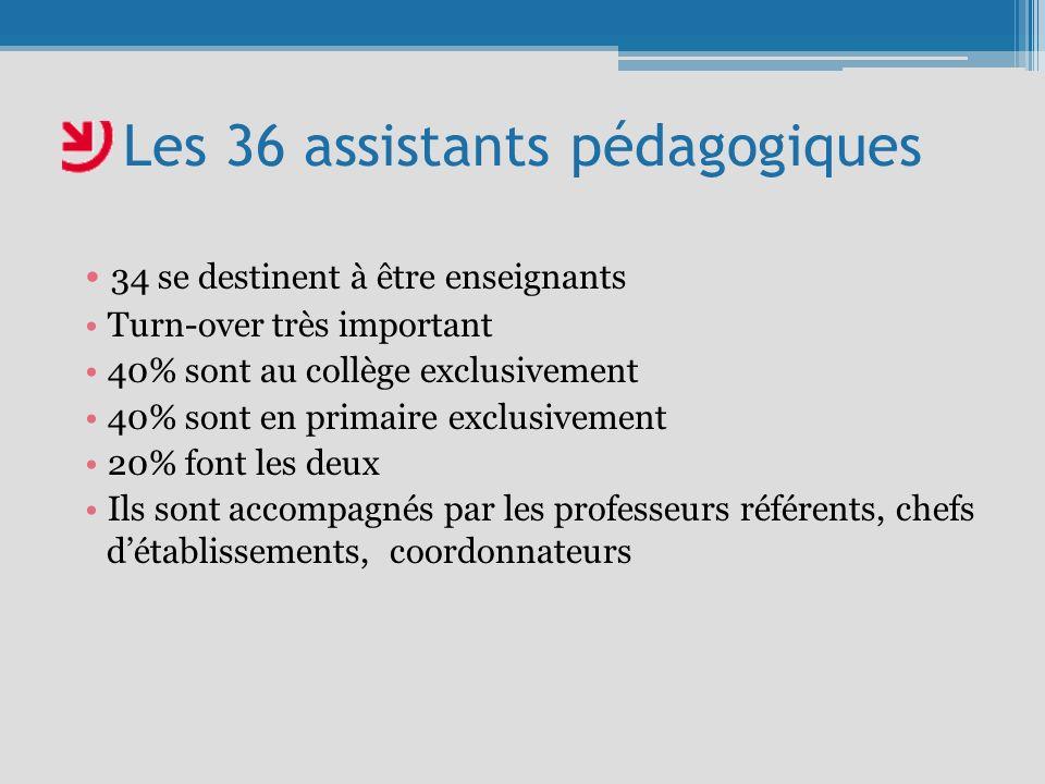 Les 36 assistants pédagogiques 34 se destinent à être enseignants Turn-over très important 40% sont au collège exclusivement 40% sont en primaire exclusivement 20% font les deux Ils sont accompagnés par les professeurs référents, chefs détablissements, coordonnateurs