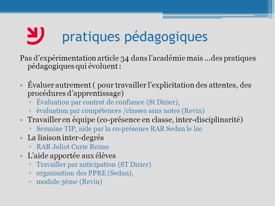 pratiques pédagogiques Pas dexpérimentation article 34 dans lacadémie mais …des pratiques pédagogiques qui évoluent : Évaluer autrement ( pour travail