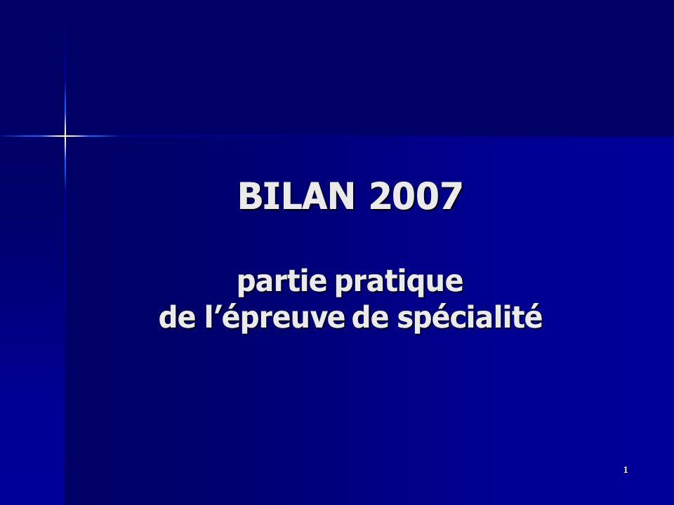 1 BILAN 2007 partie pratique de lépreuve de spécialité