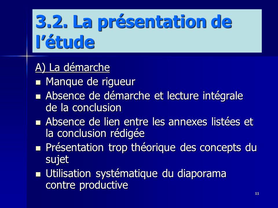 11 A) La démarche Manque de rigueur Manque de rigueur Absence de démarche et lecture intégrale de la conclusion Absence de démarche et lecture intégra